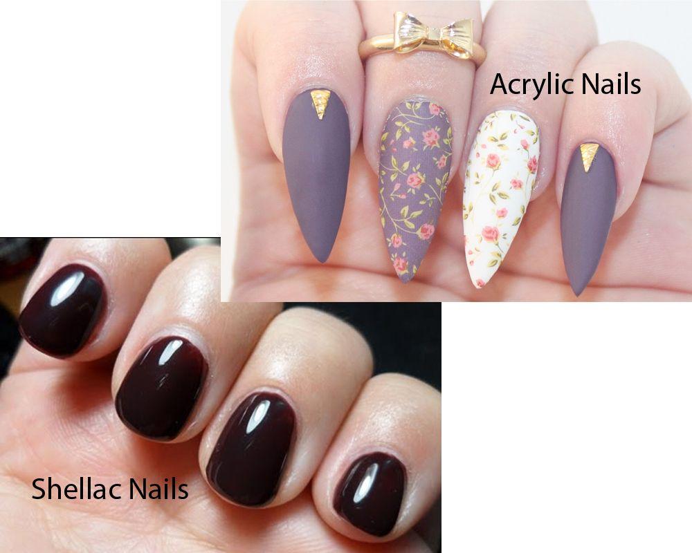 Shellac Nails vs Acrylic Nails 1 | Hair and Makeup | Pinterest ...