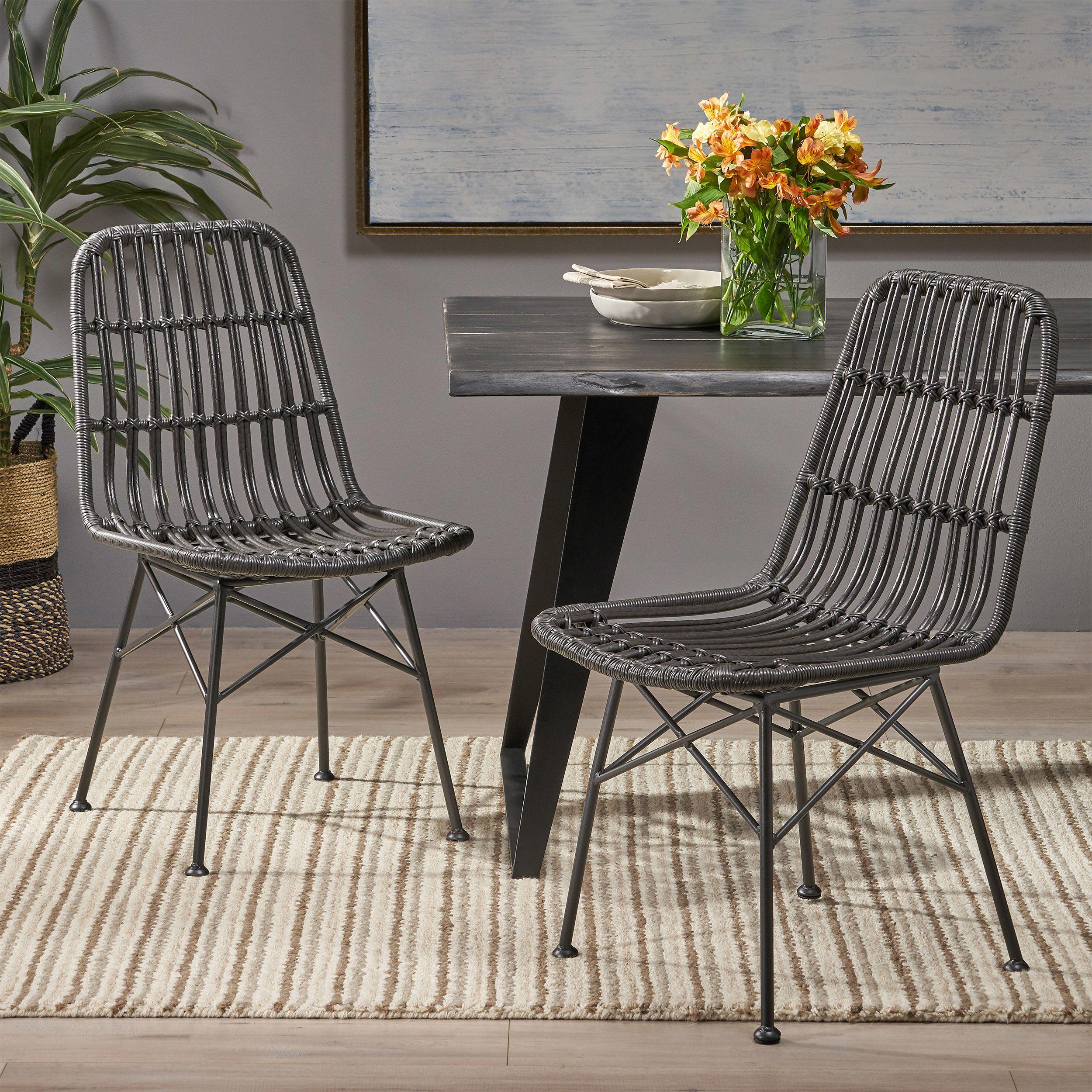 Silverdew Indoor Wicker Dining Chairs Set Of 2 Light Brown