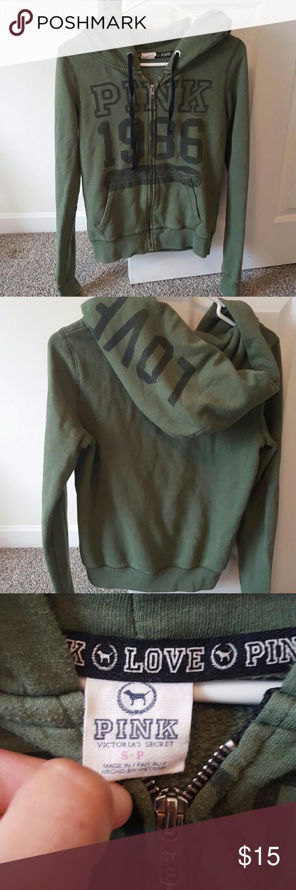 Olive Green Victoria's Secret 'Pink' zip up hoodie | Olives, Olive ...