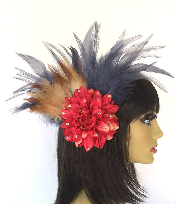 Pink Hair Flower Feather Fascinator Great Gatsby Dramatic ... 4222b346578