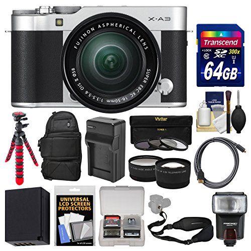 Introducing Fujifilm XA3 WiFi Digital Camera 1650mm II XC Lens Silver With 64GB Card Backpack Flash