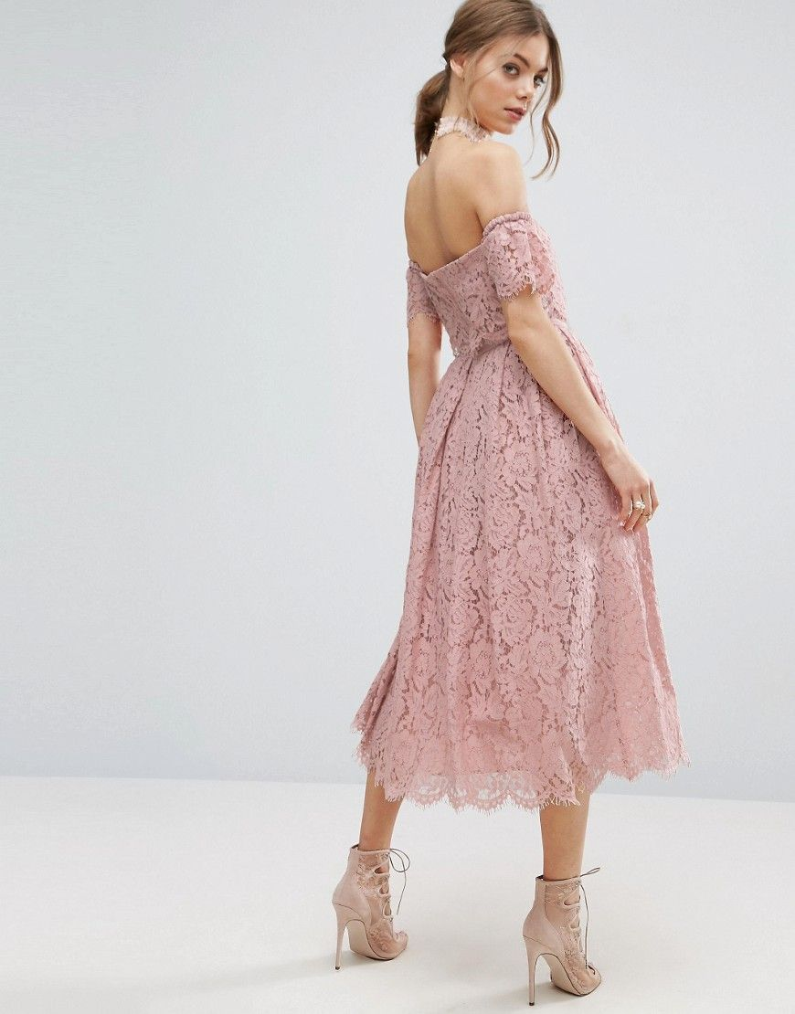 ASOS Off the Shoulder Lace Prom Midi Dress - Pink | Pinterest