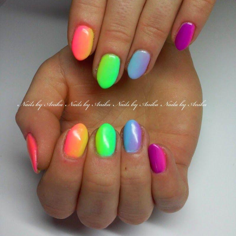 neon rainbow nails - Google zoeken   Nagels   Pinterest