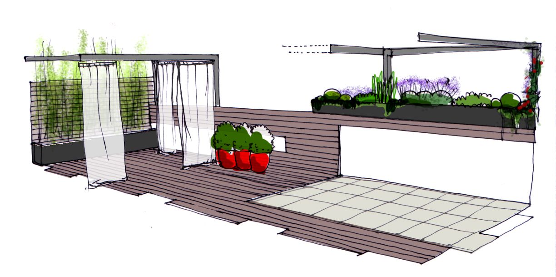 Diseño para un jardin en un ático en Madrid #paisajismo #diseño