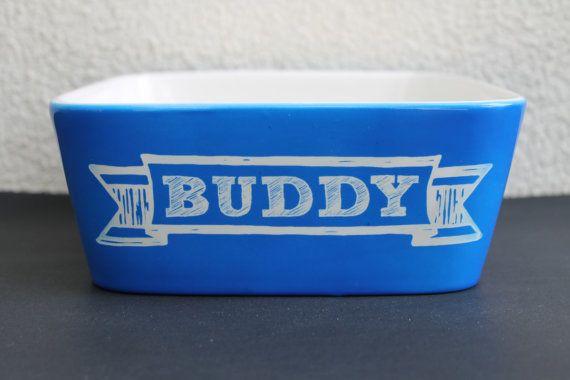 Personalized Dog Bowl, Pet Bowl, Dog bowl pottery, Large Ceramic Dog Dish, Large Personalized Pet Dish, Colorful Dog Bowl --6062