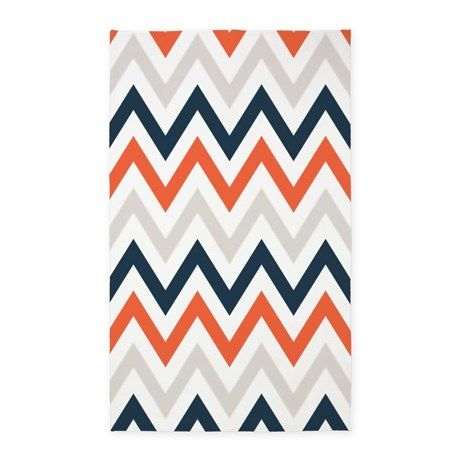 Orange Gray Navy Chevrons 3 X5 Area Rug