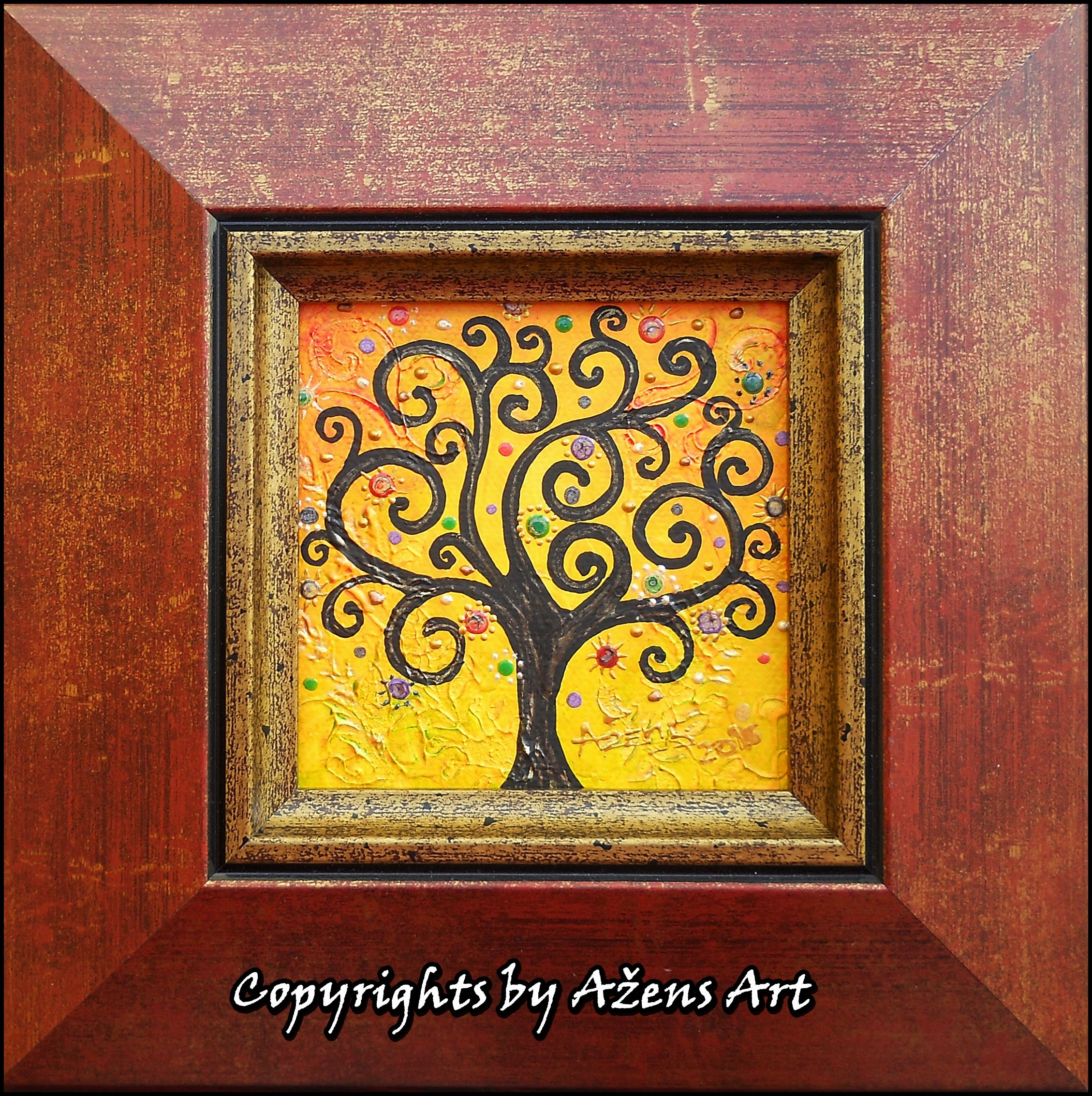 Tree Of Life 19 Mixed Media On Canvas 10 X 10 Cm Frame 20 5 X20 5 X 2 5 Cm Mixed Media Canvas Art Tree Of Life