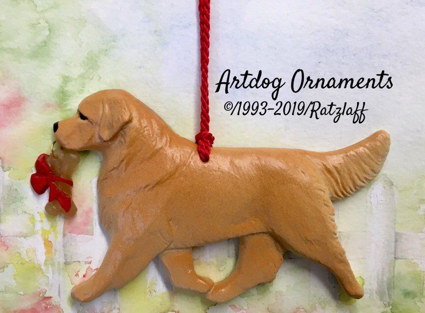 Artdog Golden Retriever With Toy Bone Charm Christmas Holiday Dog