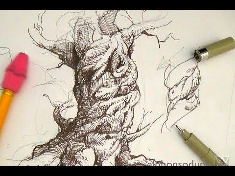 Pen and Ink Drawing Tutorials | How to draw a realistic spiraling tree as a part of drawing landscapes and scenery ~ This tutorial provides simple but effective tips on drawing a spiraling tree using pen and ink shading techniques and variation in texture.