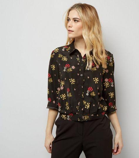 Apricot Black Floral Print 3/4 Sleeve Shirt