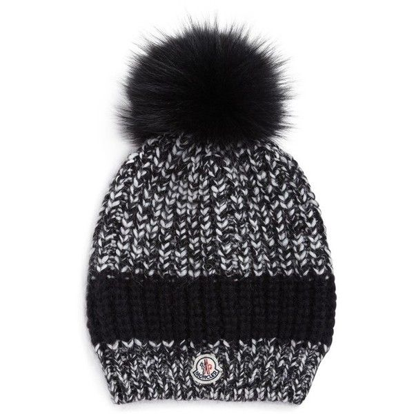 Moncler Fur Pom-Pom Knit Hat ($330) ❤ liked on Polyvore featuring accessories, hats, black, moncler, fur pom-pom hats, pompom hat, moncler hat and knit pom pom hat