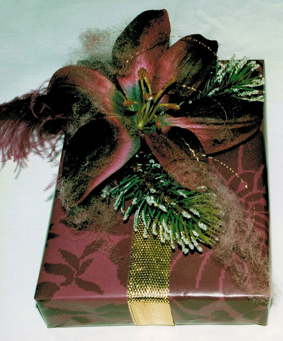 gift wrap easy metallic ribbon, large silk lily under