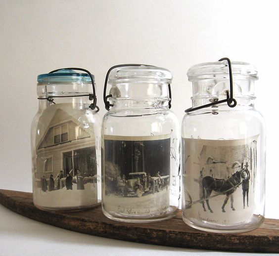 Image result for family photo display in mason jars