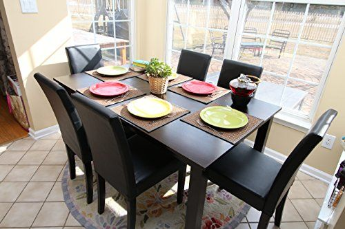 c692d6be34d 7 pc Espresso Leather Brown 6 Person Table and Chairs Brown Dining Dinette  - Espresso Brown Parson Chair - Fashiondivaly