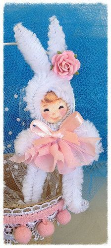 Sweet Bunny Bunting - Perfect for Easter or a Baby Shower * Vintage-Look Chenille Pipe Cleaner Ornament * Chenille Stem DIY Inspiration