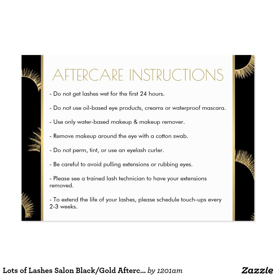 Lots Of Lashes Salon Blackgold Aftercare Card In 2018 Lash