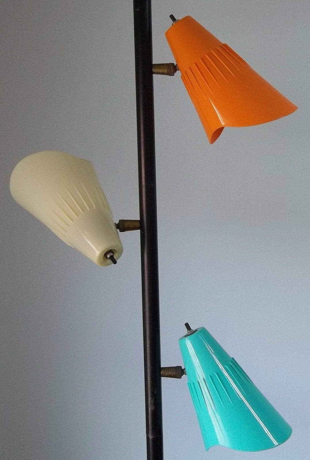 mid-century tension pole lamp in three colors