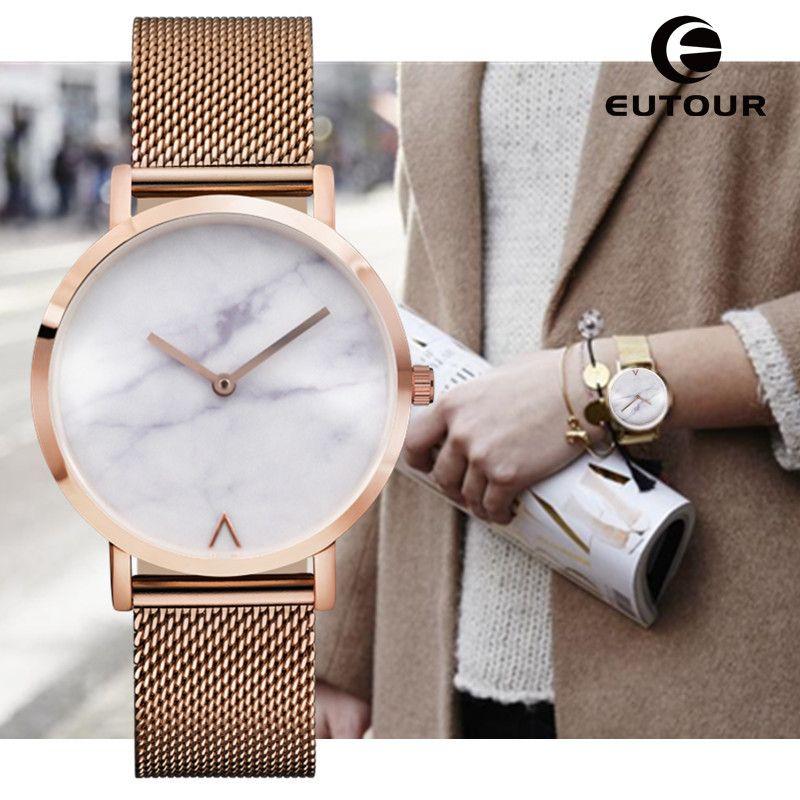 Eutour 제네바 여성 패션 복고풍 스테인레스 스틸 쿼츠 시계 미니멀 뜨거운 대리석 시계 시계 손목 시계 인기 패션