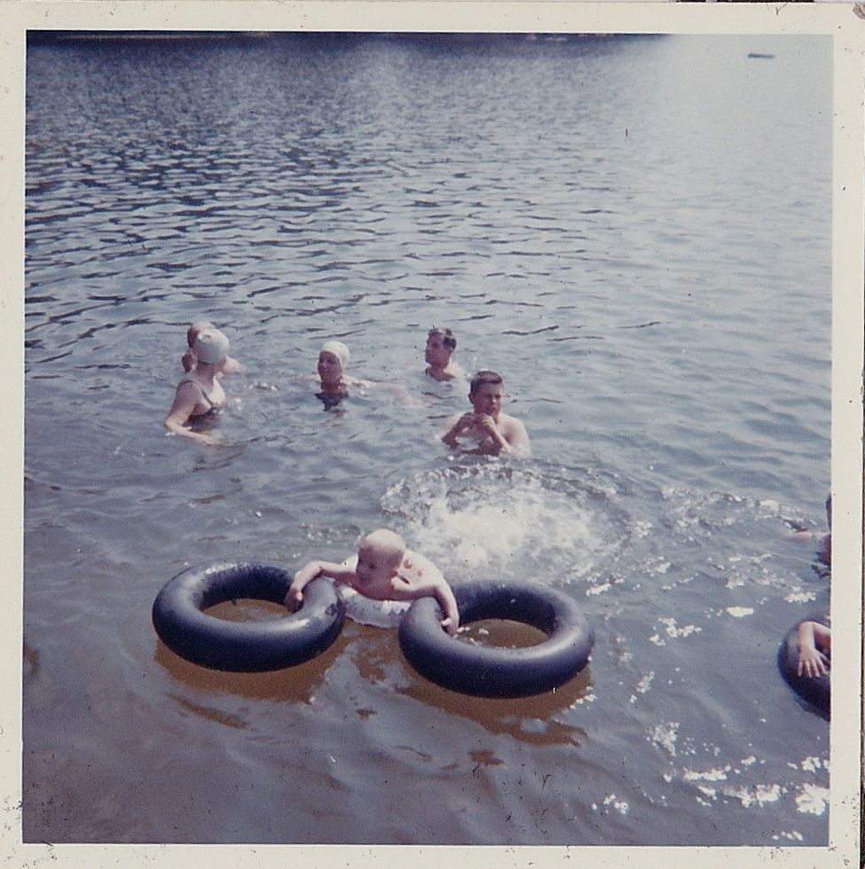 Vintage Photograph People Swimming Bathing Suits & Caps Baby ...