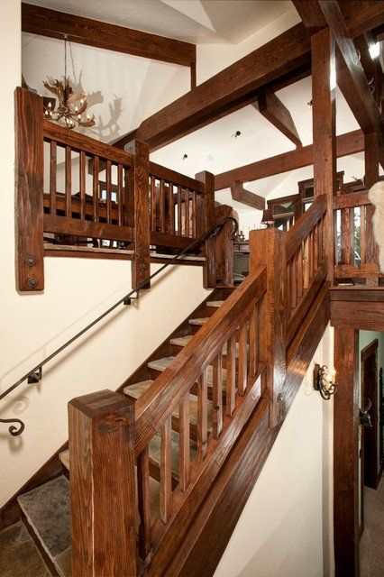 20 Uplifting Rustic Staircase Designs That You Can't ...