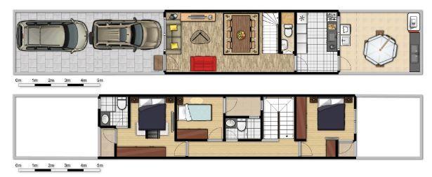 Modelos de casas de 4 metros de ancho planos largo y for Casas estrechas y alargadas