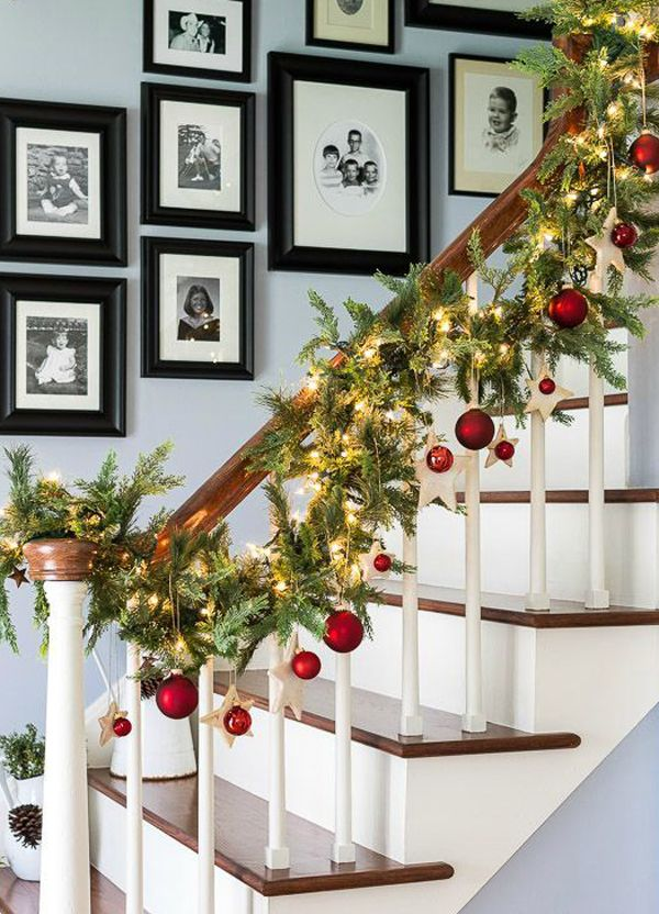 beautiful stair christmas garlands