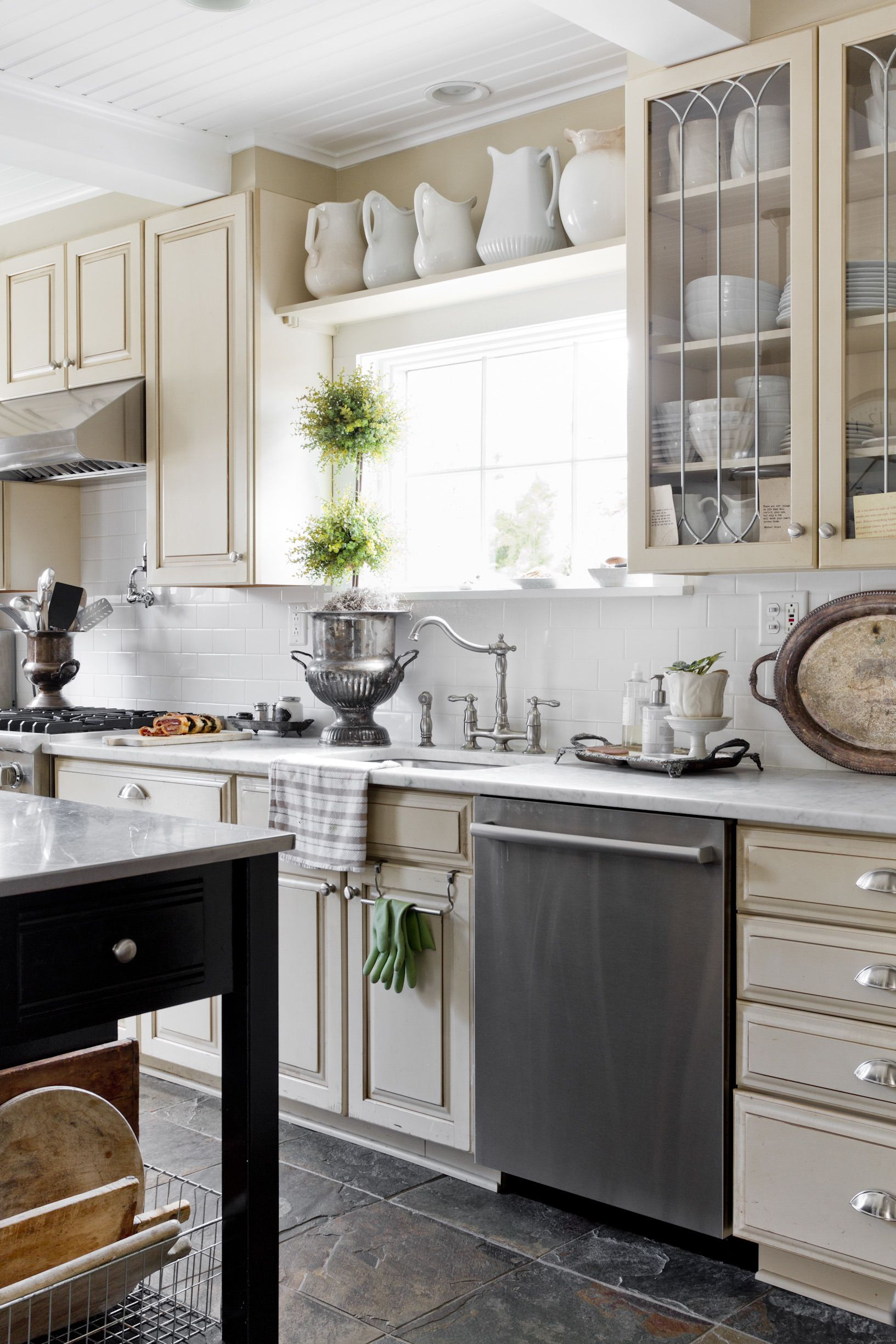 Window above kitchen cabinets  vintage chic home tour  kitchen collection kitchens and shelves