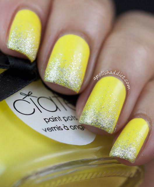 Bright Yellow Manicure with Silver Glitter Tips by A Polish Addict