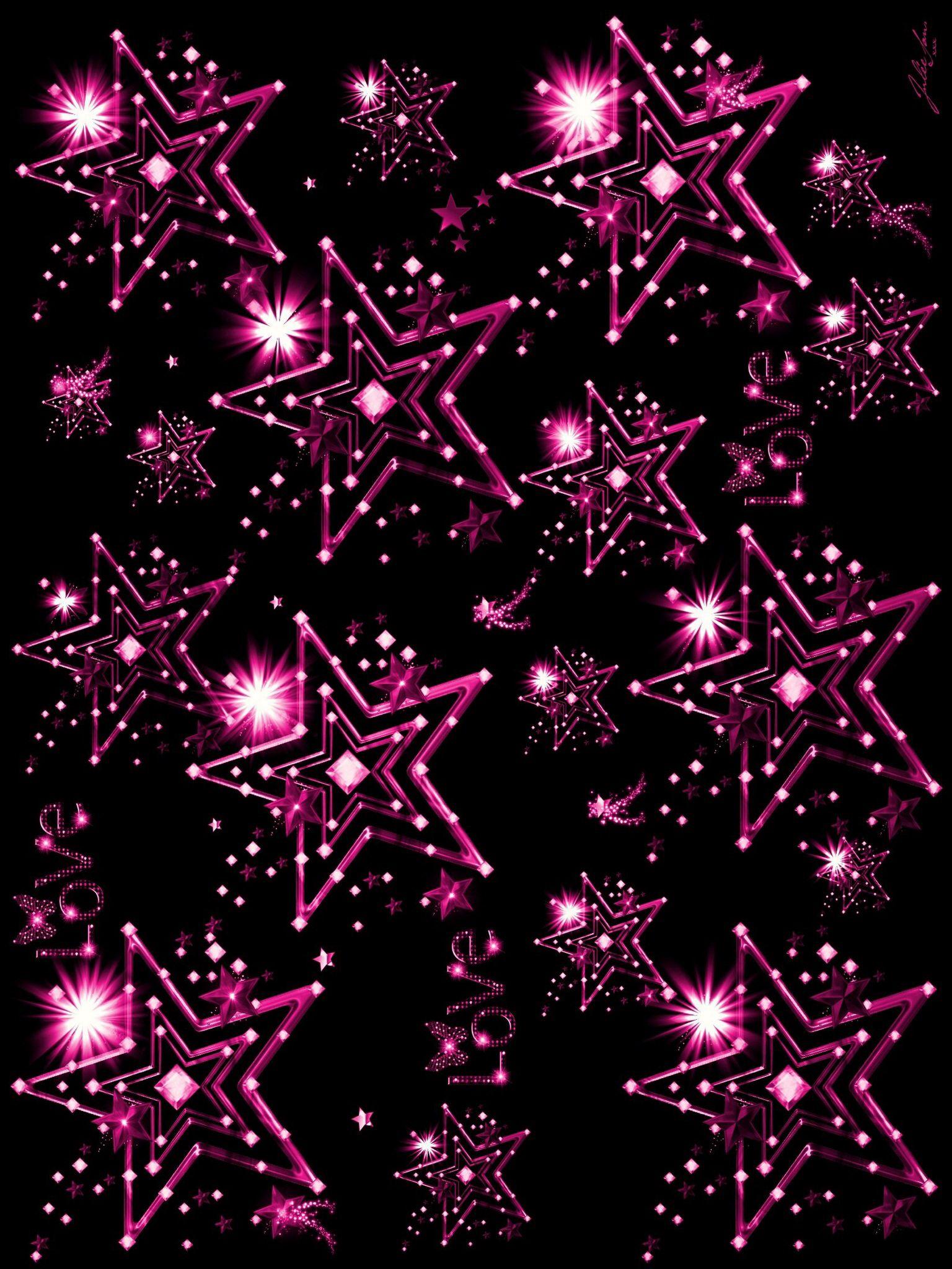 Sparkly Pink Stars Wallpaper Bling Wallpaper Phone Wallpaper