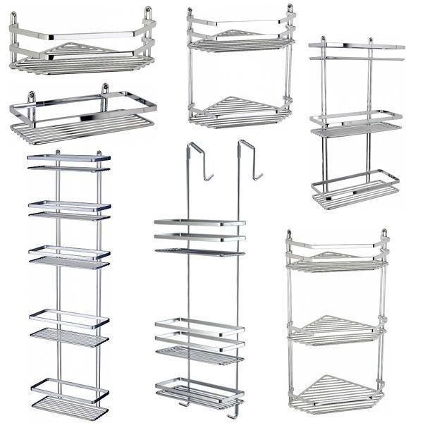 Chrome satina hanging rectangle corner shower caddy bathroom shelf ...