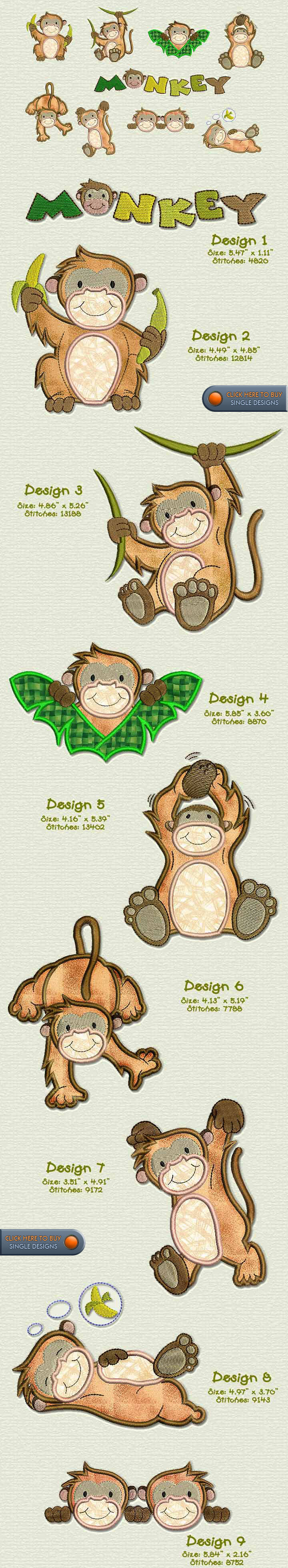 MONKEY Embroidery Designs Free Embroidery Design Patterns Applique