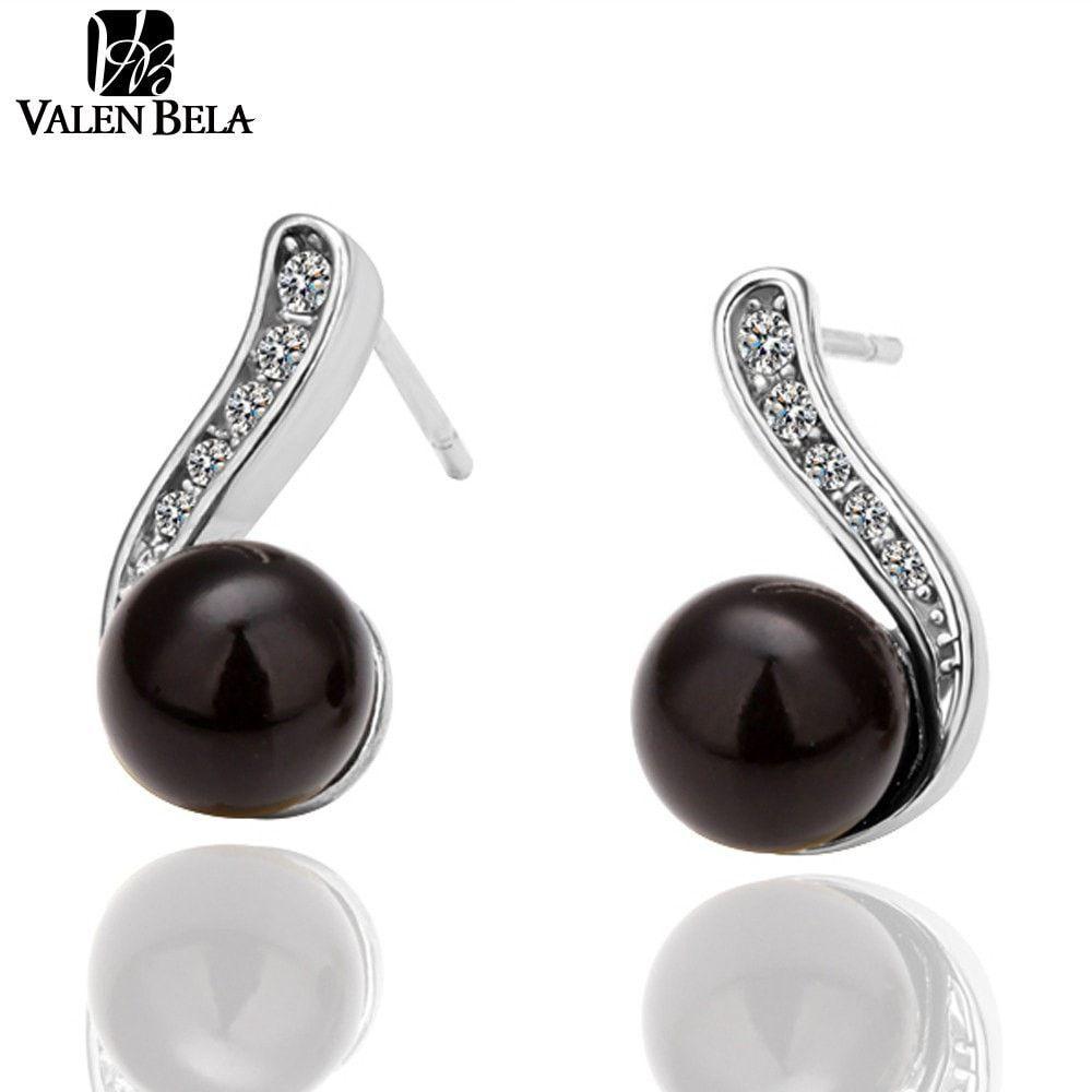 VALEN BELA Black Pearl Beautiful Brincos Tiny Cubic Zircon Platinum Plated Women Classic Stud Earrings Jewelry ED2261