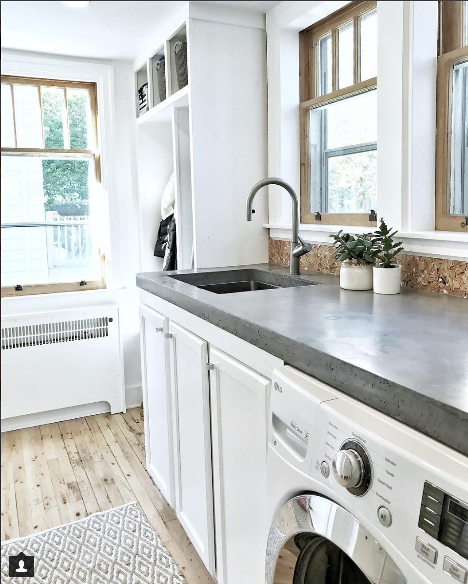 Mudroom Laundry Room With Diy Concrete Countertops Laundry Room
