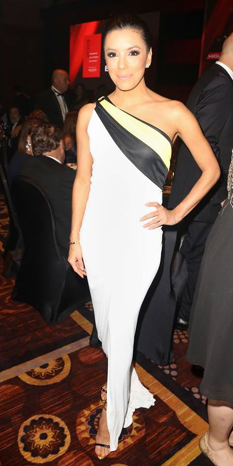Eva Longoria Best Dressed in a Versace draped one shoulder white gown at the 2013 Person of the Year Awards in Las Vegas #HauteCouture