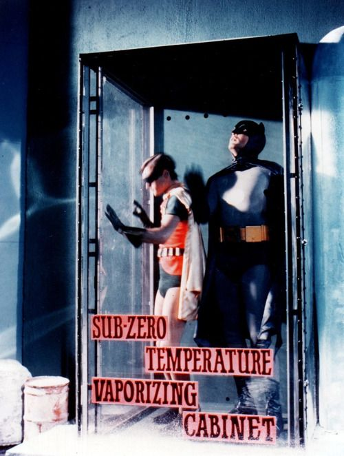 Batman and Robin trapped in Mr. Freeze's Sub-Zero Temperature Vaporizing Cabinet!
