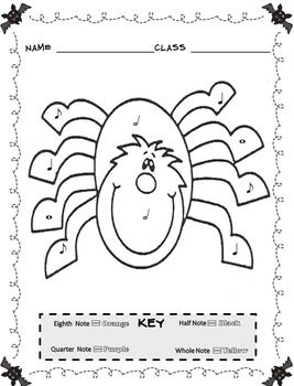 Music Coloring Sheets Color By Note Halloween