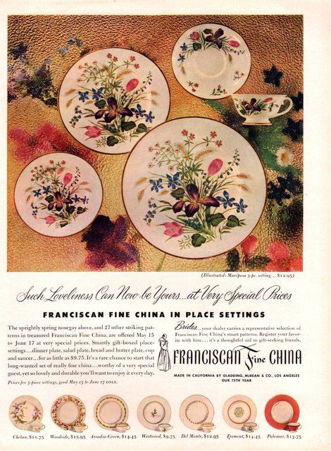 1950 franciscan fine china print ad featured pattern mariposa
