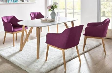 5-tlg Essgruppe mit großen weißem Tisch und 4 Stühlen »Aino«, lila
