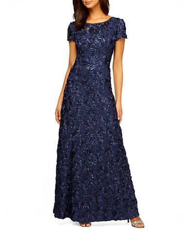 8bc1455bef3d8 Brands | Evening & Formal | Plus Embellished Rosette Gown | Lord and Taylor