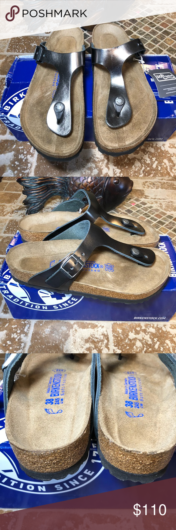5e58e3b2b9b Birkenstock NWT Size 38 L7 Gizeh Natural Leather Soft Footbed Metallic  Anthracite. Brand new.