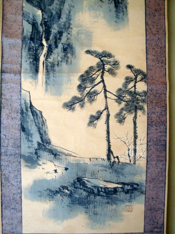 Japanese antique watercolor wall painting on double paper which is  rolled screen, see also the Japanese lacquered wooden sake cups. Ours is a store with more, plus linen fabric 145cm wide,lace curtains, from Turkey, cushions, upholstery. Lace table runners, curtain ties and more, worldwide shipping, can be seen in more details on ebay forevergreen2010 or geocities jp yume_lace original_details images, I'm sure you can receive details via mail from worldtuner yahoo com.