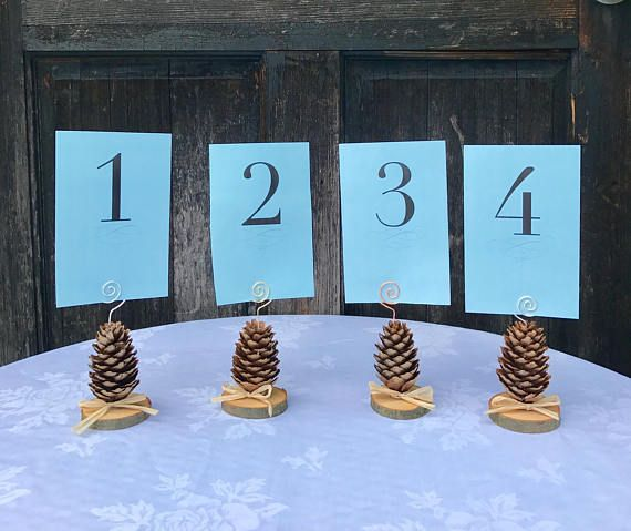 pine cone table number holders pinecone place card holders rustic table number holder