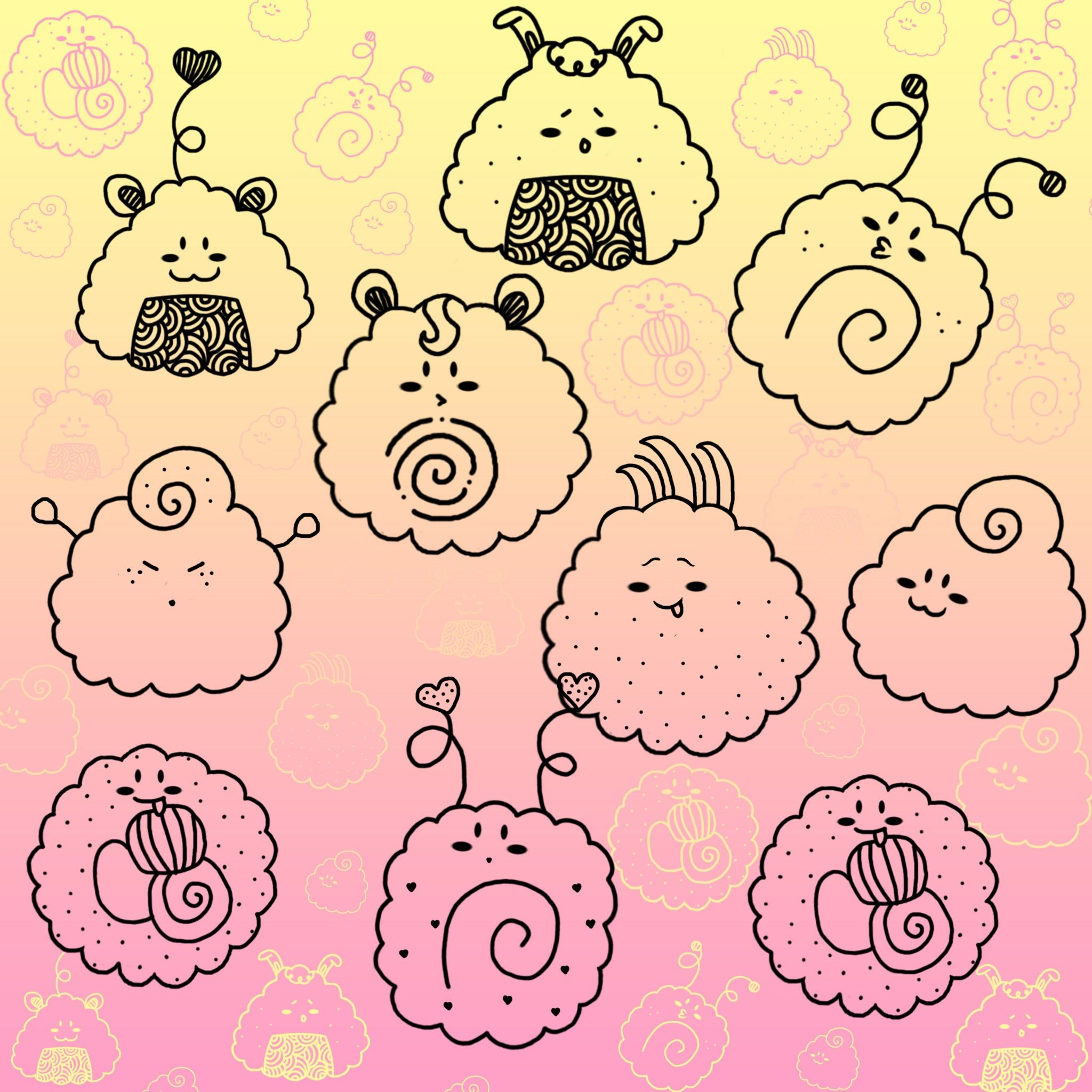 Kawaii Sushi Brushes - Tap to see more cute Kawaii cartoon ...