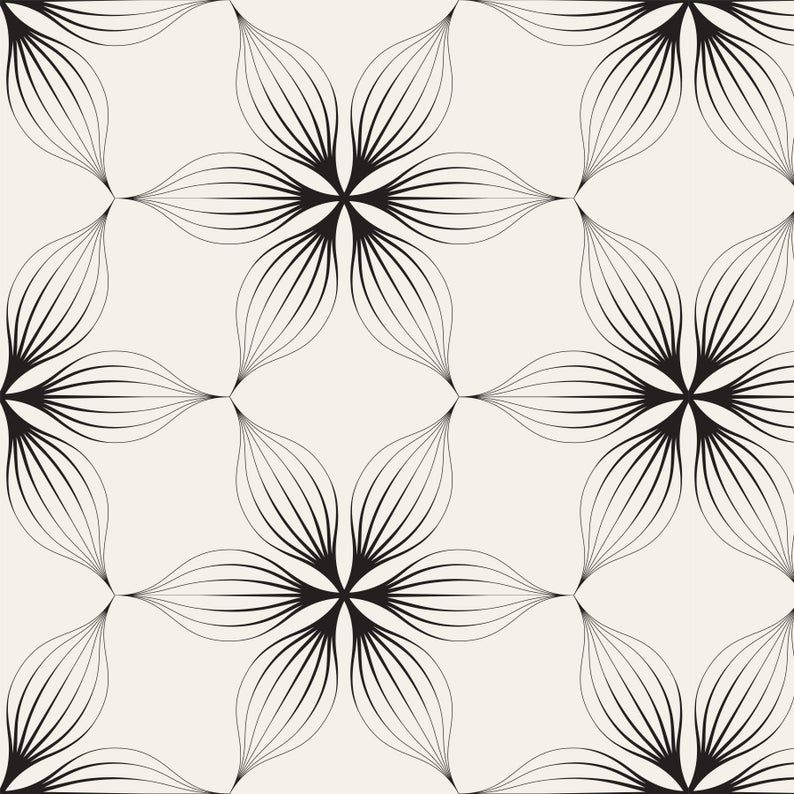 Removable Peel And Stick Wallpaper Black And Beige Tan Floral Etsy Peel And Stick Wallpaper Floral Wallpaper Wallpaper