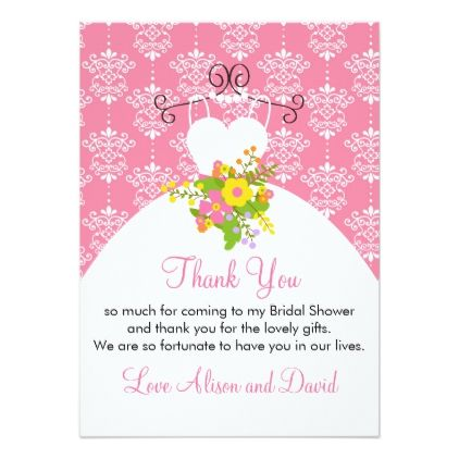 summer pink damask wedding dress thank you card flower gifts floral flowers diy