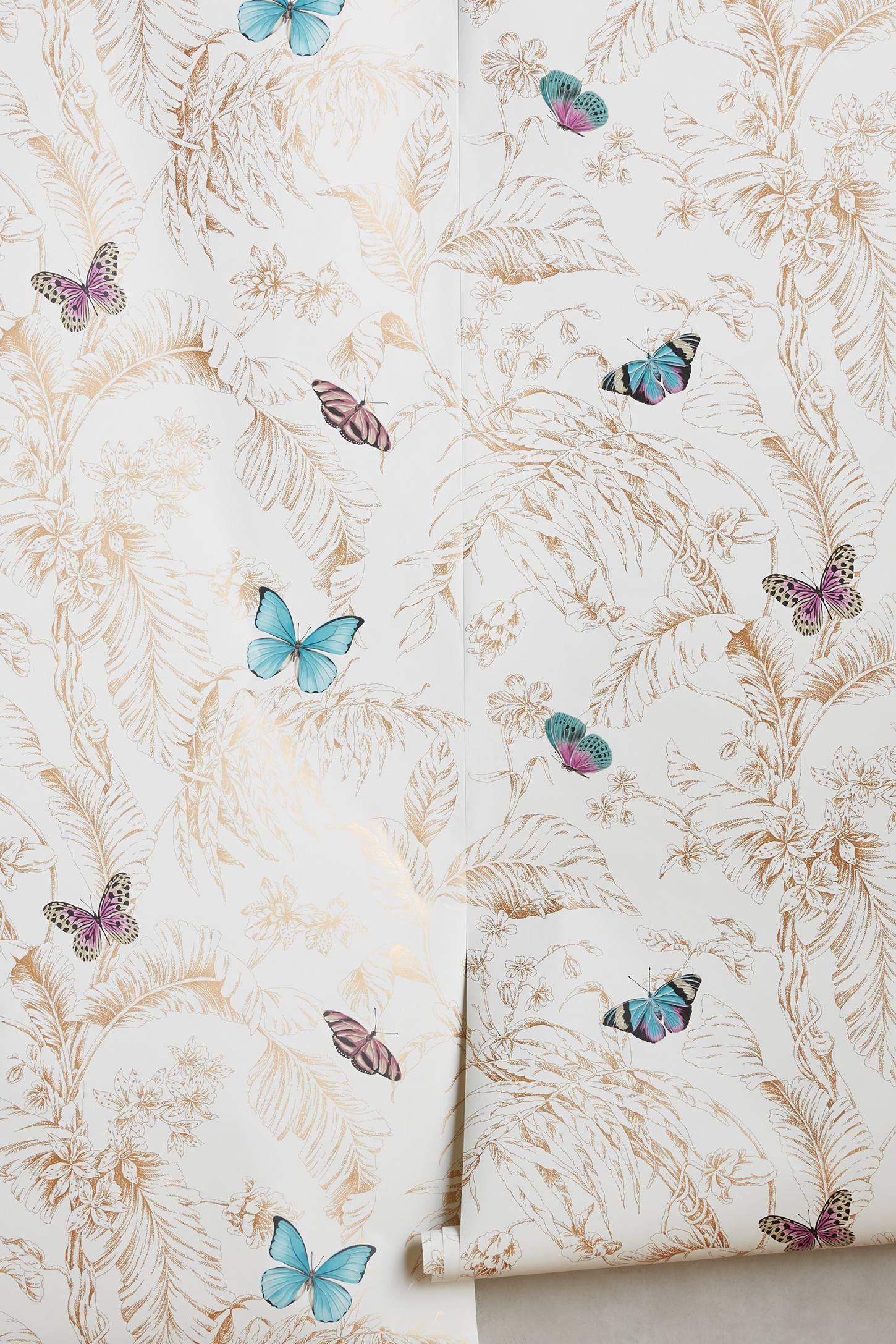 Papillon Wallpaper Anthropologie wallpaper, Wall decor