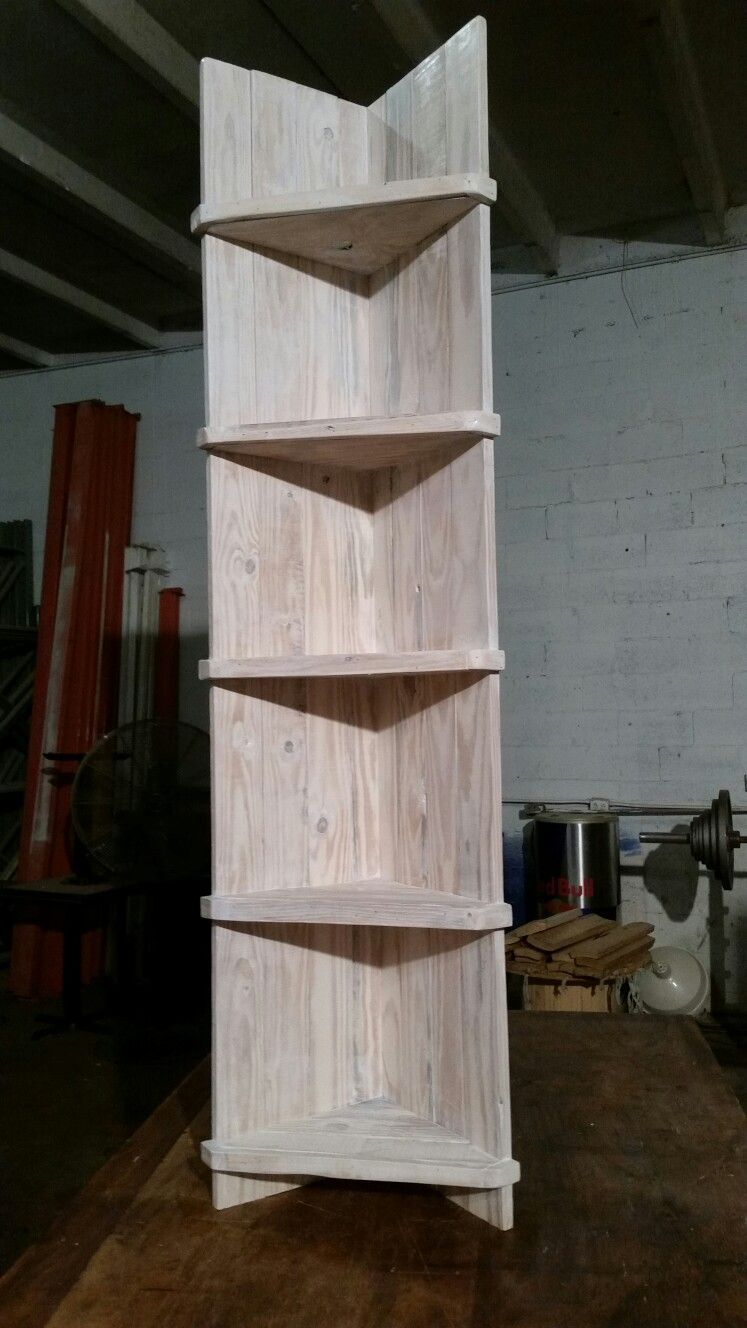 Free Standing Corner Shelf Made Out Of Pallets