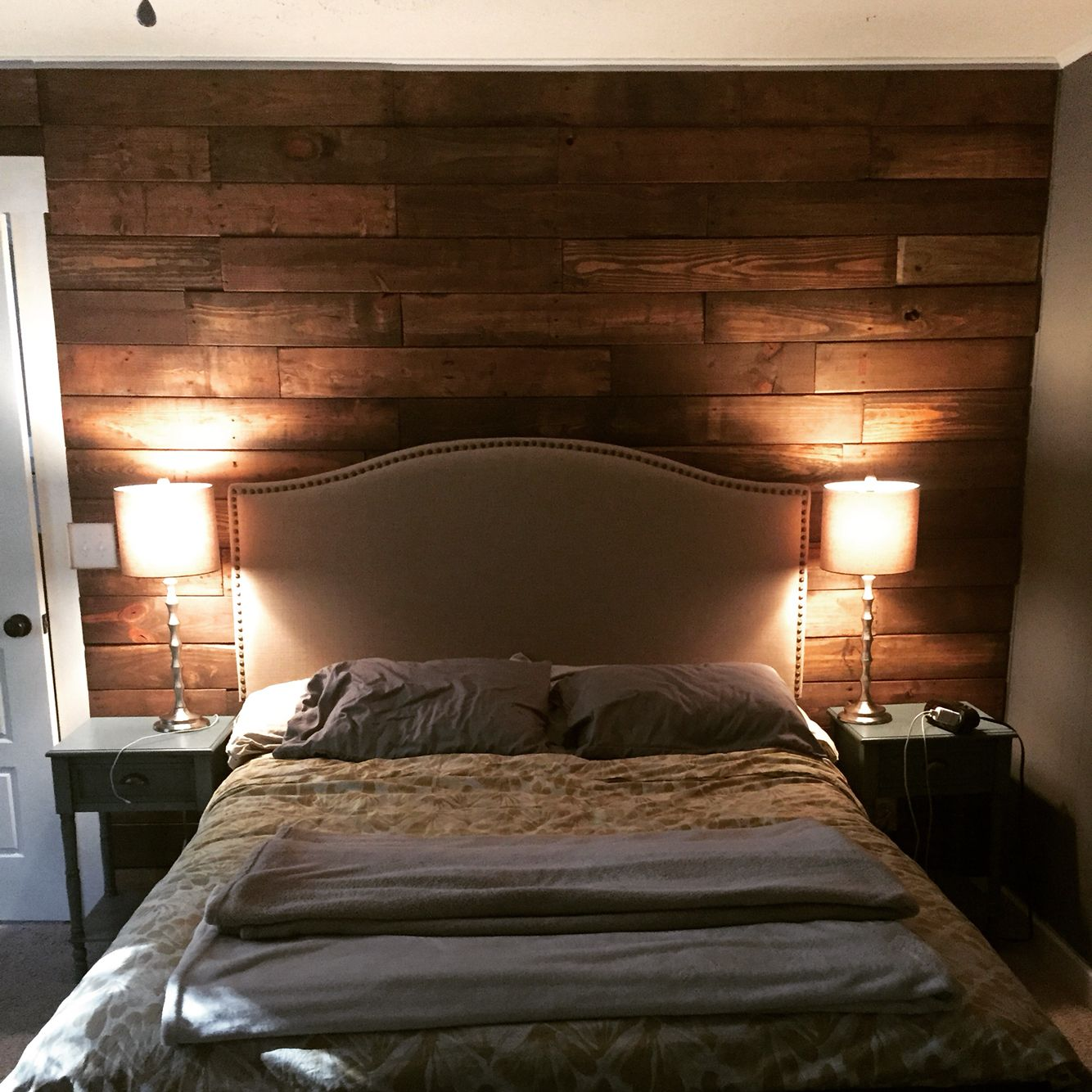 Pallet Wall With Nail Trim Head Board Home Improvement