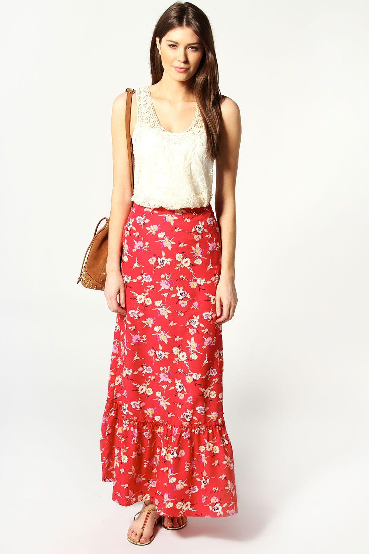 858adb0cee49 Nat Floral Tiered Maxi Skirt at boohoo.com | My Style | Jersey maxi ...