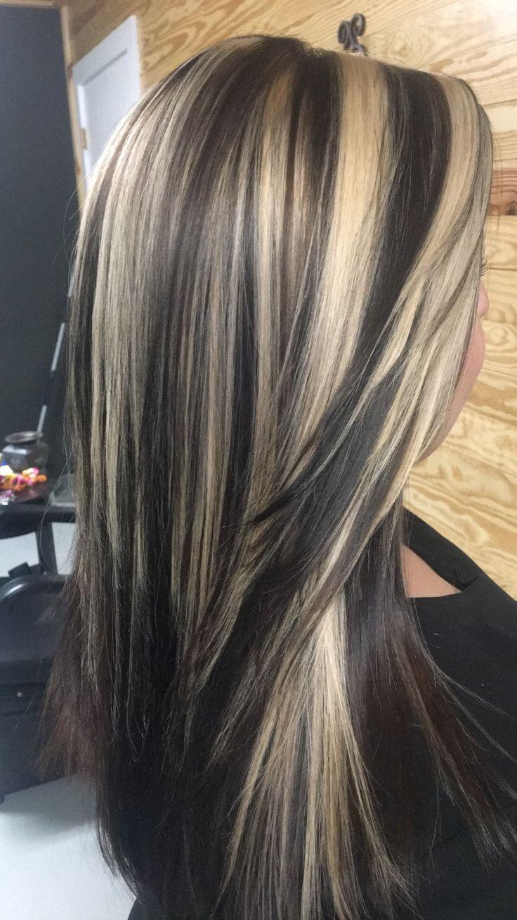 Dark chocolate base with blonde highlights 2017 summer hair – #blonde #chocolate…